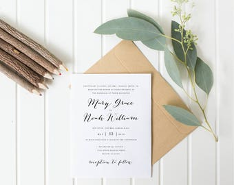 Simple Calligraphy Wedding Invitation (Printable)