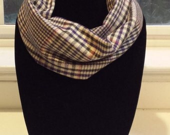 Tan and Brown Houndstooth Plaid Infinity Scarf