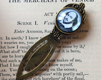 Shakespeare Bookmark - William Shakespeare, Gift For Reader, Book Lover, Bibliophile, Antique Style Author Bookmark, Library Book Gift