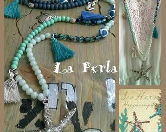 Long necklace jade agate Starfish blue turquoise boho style