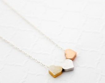 Tiny Heart Necklace for Mom, Three Sisters Necklace Gift for Mom, Mothers Day Gift from Daughter Necklace, Silver, Gold and Rose Gold