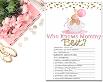 Who Knows Mommy Best -  Baby Shower Games - Pink Baby Shower Games Printable - Girl Baby Shower Games - Bunny Baby Shower - INSTANT DOWNLOAD