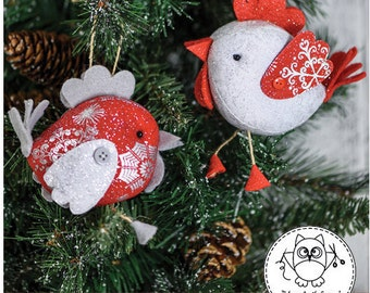 BABY ROOSTER sewing PATTERN. Christmas rooster ornament. 2017 rooster. 2017 year symbol. pdf sewing pattern. pincushion. © Blue Owl Land