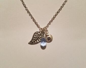 Birthstone March Aquamarine necklace leaf Aquamarine March birthstone Aquamarine leaf birthstone necklace Aquamarine birthstone leaf charm