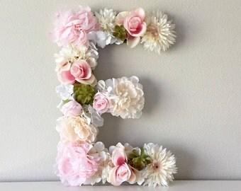 "Floral Letter 19"" 24"", Flower Letter, Nursery Letter, Light Pink Nursery Decor, Wall Letter, Wedding Letter, Flower Initial, Letter Nursery"