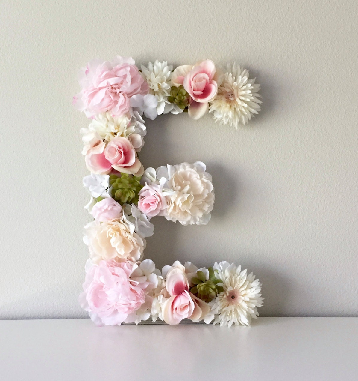 Floral Letter Flower Letter Nursery - Light pink nursery decor