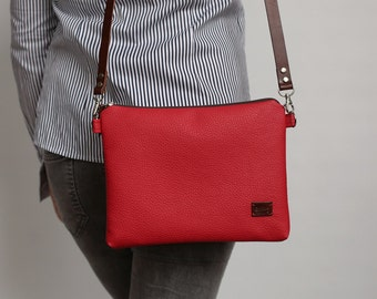 Crossbody bag Gift for her Valentine gift red Casual Purse Leather Handbags Vegan leather bag For her - model BWS red