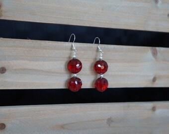 Ruby Red Beaded Earrings, Beaded Drop Earrings, Red Beaded Earrings, Faceted Bead Earrings, Silver and Red Earrings, Handmade Earrings