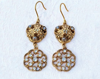 Flora - Italian Vintage Jewelry, Swarovski Crystal, Jet Hematite, Daisy