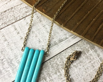 Turquoise Pendant Necklace // Long Necklace // Gift for Her // Boho Jewelry // Modern Necklace // Natural Stone Necklace // Handmade