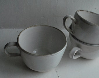Simple White Stoneware Mug/ Coffee Cup/ Cup/ Tea Cup/ Drinking Container/ Tumbler