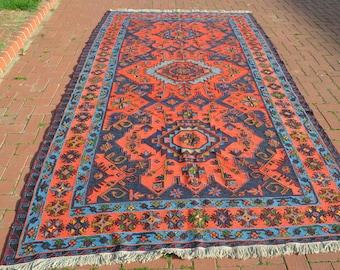 Vintage Home Decor - Large Orange and Blue Vintage Rug - Oversize Soumak Rug - Orange Vintage Rug - 6x11 Rug
