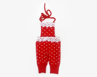 Romper with hearts Newborn baby size  Red Romper White hearts  photo prop