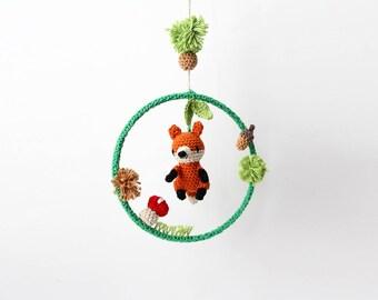 Crochet Fox Baby Mobile Dream Ring – newborn crib mobile, dreamcatcher, handmade baby gift