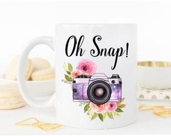 Oh Snap Mug, Photographer Gift, Photographer Mug, Photography Gift, Camera,Camera Mug, Photography Mug, Photography Gifts, Girly Mug