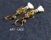 Long Dangle earrings White Tassel earrings Japanese Cherry Blossom Earring women yellow Lampwork earring tiger tail Chinese ornamental cage