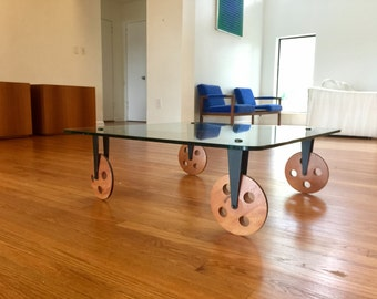 Mid Century Italian Gae Aulenti Fontana Arte Glass Coffee Table on Wood Wheels