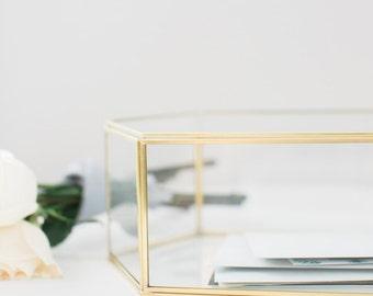 Wedding Card Box - Geometric Glass Card Box - Wedding Decorations - Large Keepsake Box - Gold Glass Card Box - Gold Card Box - Gem Glass Box