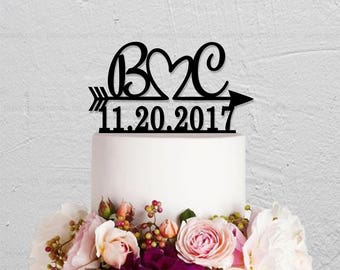 Wedding Cake Topper,Initials Cake Topper,Arrow Cake Topper,Date Cake Topper,Personalized Cake Topper,Rustic Cake Topper,Name Cake Topper