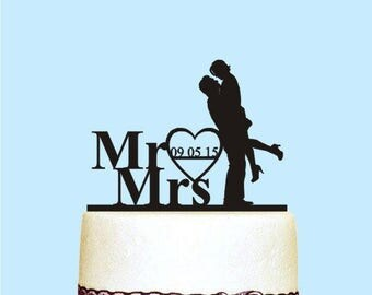 Mr and Mrs Wedding Cake Topper, Custom Date, Bride and Groom, Anniversary Cake Topper Rustic, Wedding and Anniversary Cake Topper