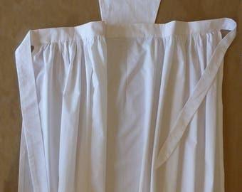 Historic Victorian Apron 100% white cotton, size S, M, L