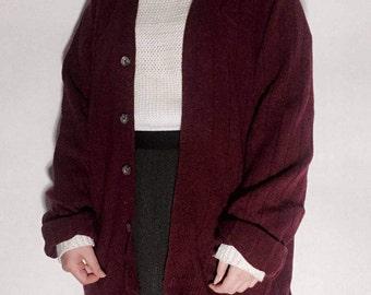 burgundy wine sweater cardigan / wool cardigan