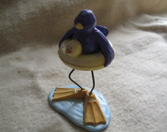 Vintage Russ Figurine Tweet Along With Me Bird Bath Waddles Russ Collectables Free Shipping