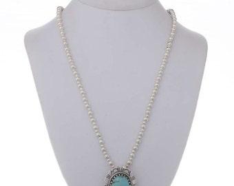 Blue Turquoise Southwest Pendant Silver Bead Necklace