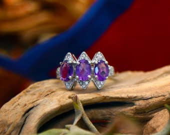 Purple Amethyst Gemstone Trio and Cubic Zirconia Sterling Silver Fashion Ring/ Handmade Polished Crystal Jewelry/ Free Gift Bag Included