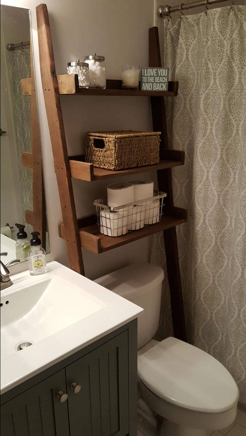 Over The Toilet Ladder Shelf Bathroom Storage Leaning