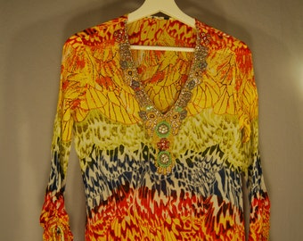 Second hand designer tunics S Longsleeve shirt blouse top V neck jewels rhinestone glitter colorful eccentric Appilkationen