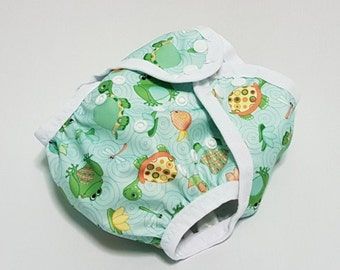 Cloth diaper cover | AI2 | all in two | one size | newborn | prefold | flat | fitted | soaker | nappy wrap | boy girl | turtles & frogs