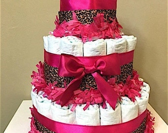 Leopard and Hot Pink Diaper Cakes, Leopard Hot Pink Centerpiece, Leopard Hot Pink Decorations, Leopard Hot Pink Baby Shower