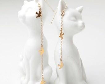 Gold Bird Charm Earrings / Dainty, Long Asymmetrical Drop Earrings / Valentine Gift For Her / Wedding Jewellery / Jewelry