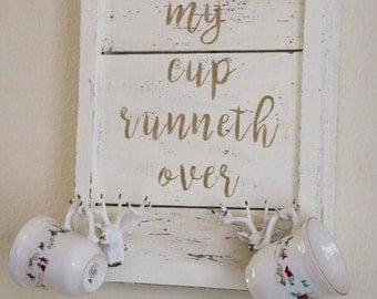 Farmhouse Mug Holder with Shabby Chic Letters and Rustic Antler Hooks