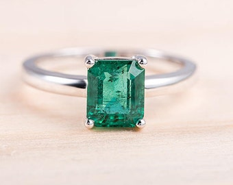 Emerald Cut Engagement Ring White Gold Emerald Solitaire Minimalist May Birthstone Dainty Unique Bridal Set Simple Anniversary Gift for Her
