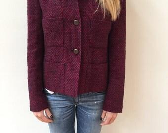 Vintage Burgundy CHANEL tweed jacket and skirt suit