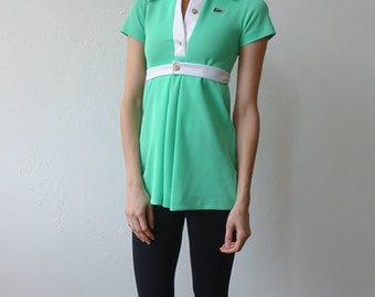 60s Lacoste Mini Dress // Vintage 1960s Chemise Lacoste Dress Top Blouse Tennis 70s Rare Green - Extra Small xs Petite