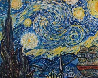 Pepe the Frog Starry Night (Van Gogh) by Pepelangelo, painting, oil on canvas