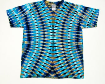 Youth Large Brown Blue Cascading Ribs Tie Dye T-Shirt