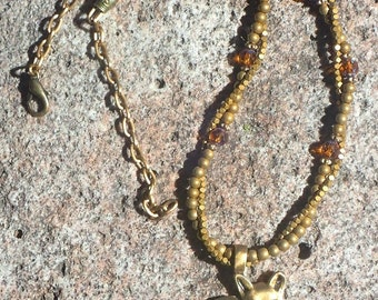 Golden Brass Cat Pendant Necklace