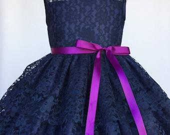 Navy Blue Sleeveless Lace Ruffle Purple Belt Flower Girl Dress Wedding Bridesmaid Shabby Vintage Infant Formal Pageant Toddler 2 4 6 8 10 12
