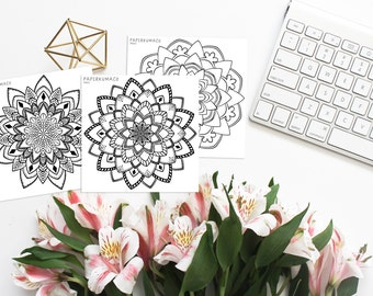 mandala stickers for bullet journals and planners - colorable - 3.5 inches