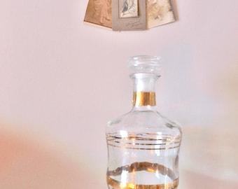 CARAFE of Bar French vintage old antique french gold line glass jug