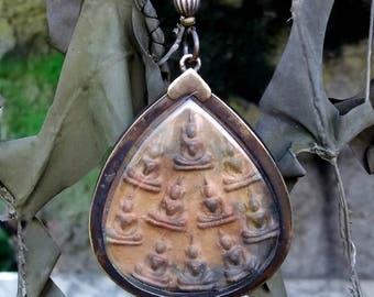 Terracotta Tibetian Buddha pendant necklace .