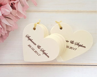 10 Personalised Heart Shaped Wedding Favour Tags - Ivory Cream