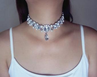 Cubic Zirconia Jewelry/ CZ Wedding Jewelry/ bridal necklace/ Bridal wedding jewelry/ Bridesmaid necklet / Dainty Choker/Drop choker