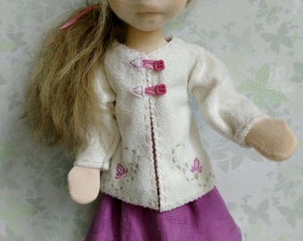 Doll jacket and skirt set for 16 -18 inch – white doll jacket – doll clothes –  jacket for doll – doll skirt – waldorf doll clothes