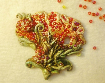"Brooch ""Sweet berry"" from polymer clay."