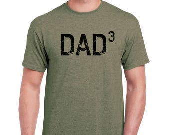 Dad Shirt-DAD 3- Husband Gift, T Shirt, Fathers Day Gift Mens t-shirt, New Dad, Pregnancy announcement, Funny T shirts Gift For him Mens tee